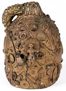 Antique Folk Art Memory Jug