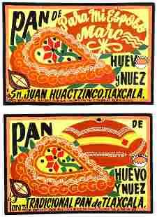 2 Mexican Pan De Huevos Y Nuez Advertising Signs