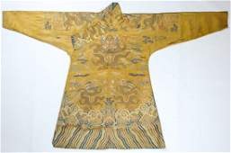 Important ChineseTibetan Silk Dragon Robe 18th C