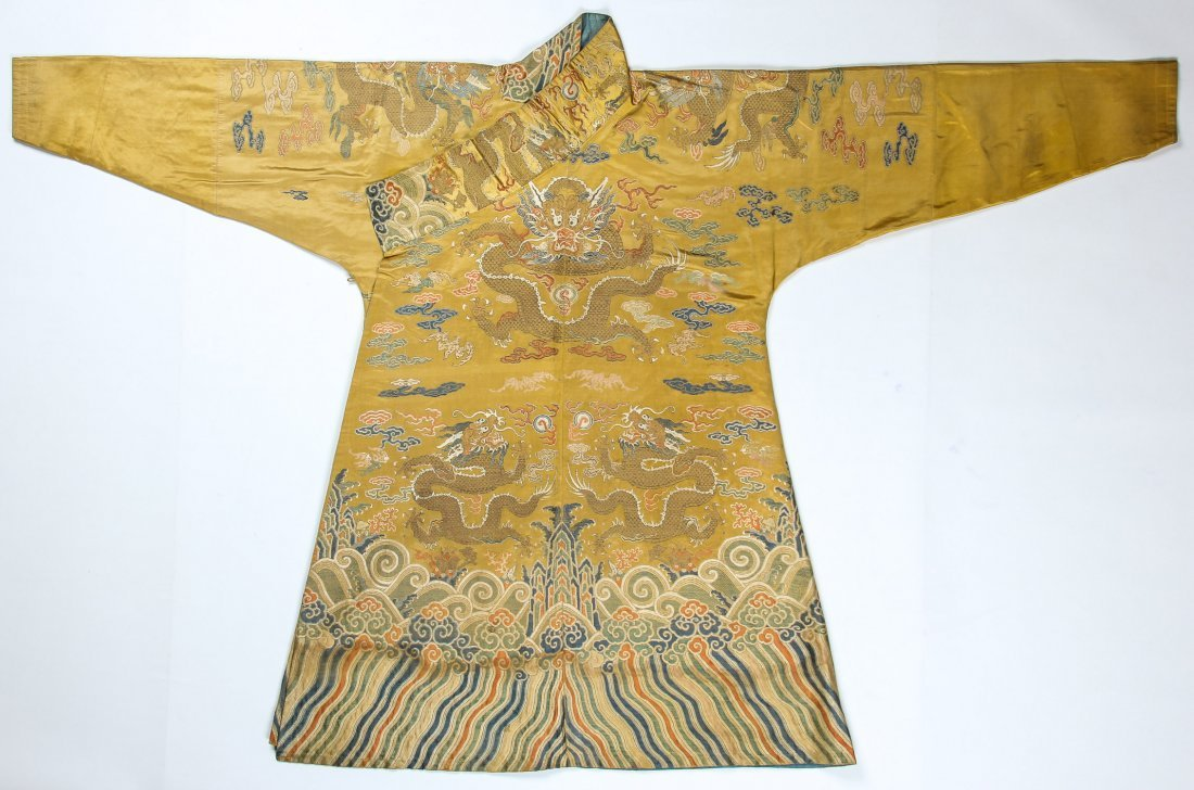 Important Chinese/Tibetan Silk Dragon Robe, 18th C