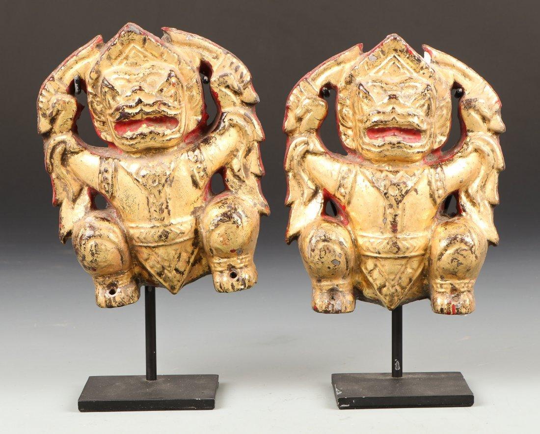 Pair of Antique Thai Temple Ornaments