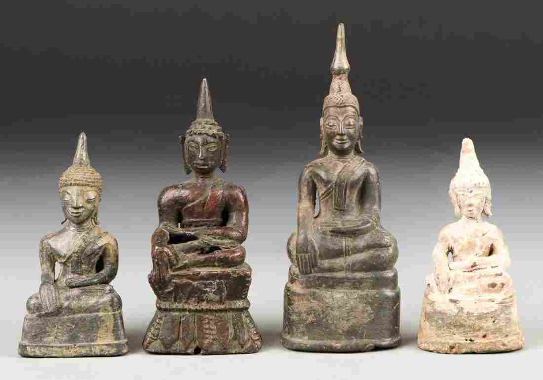 4 Antique Bronze Buddha Statues