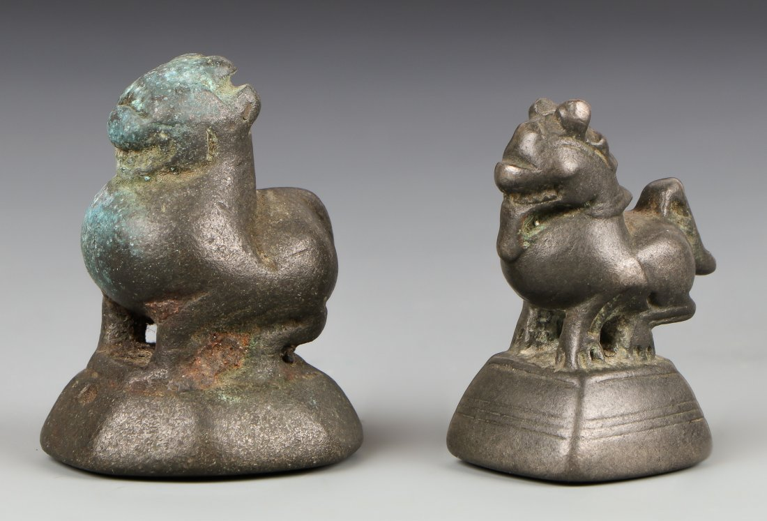 Two Antique Beast Opium Weights