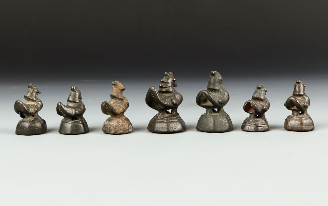Seven Antique Chicken/Duck Opium Weights - 2