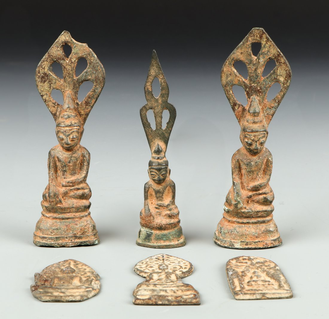 Six 19th C. Burmese Bronze Buddhas and Amulets