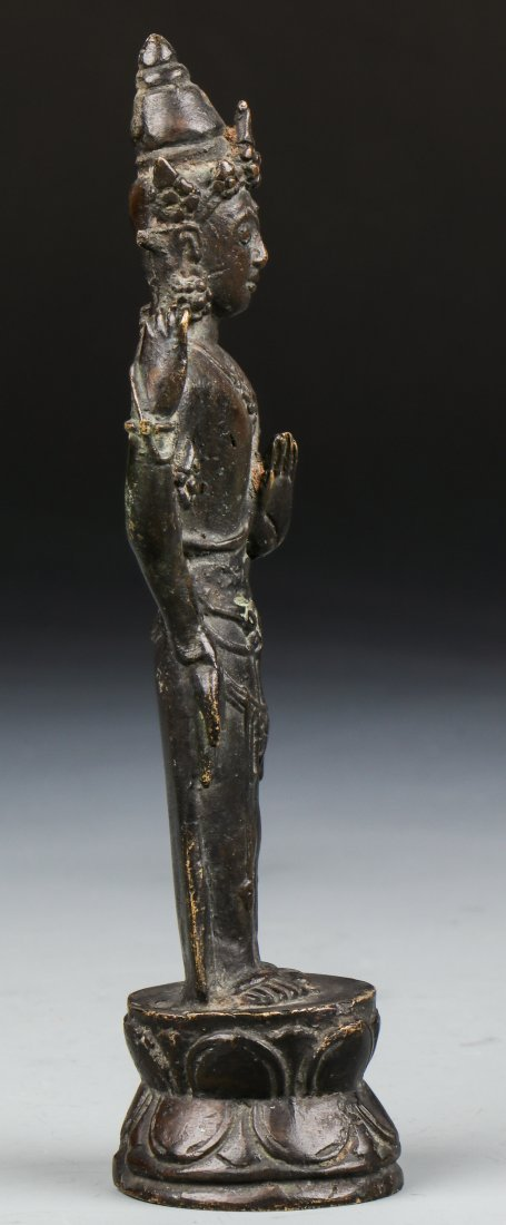 Chinese Qing Dynasty Buddhistic Bronze Figure - 4