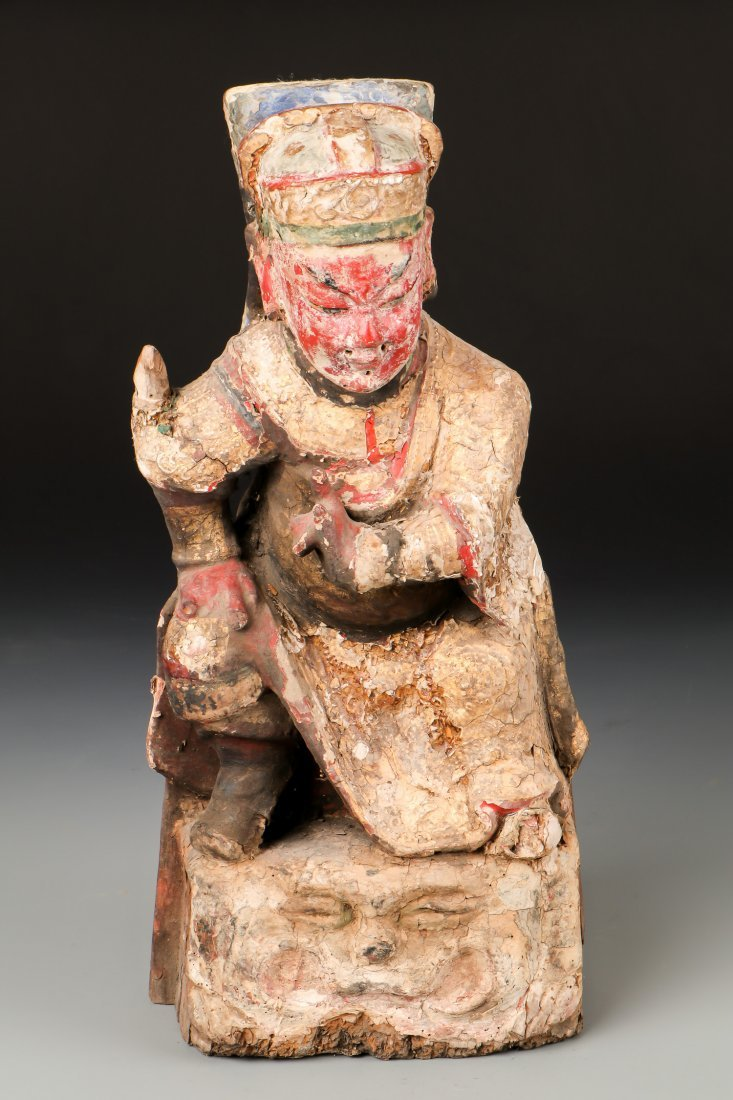 Large 19th C. Chinese Carved Wood Figure