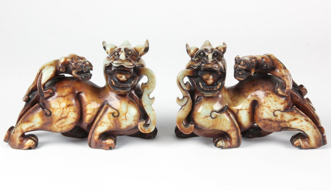 Pair of Chinese Hardstone Dragons