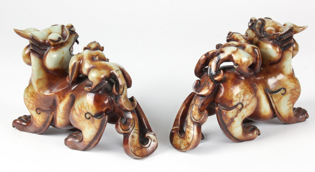 Pair of Chinese Hardstone Dragons - 3