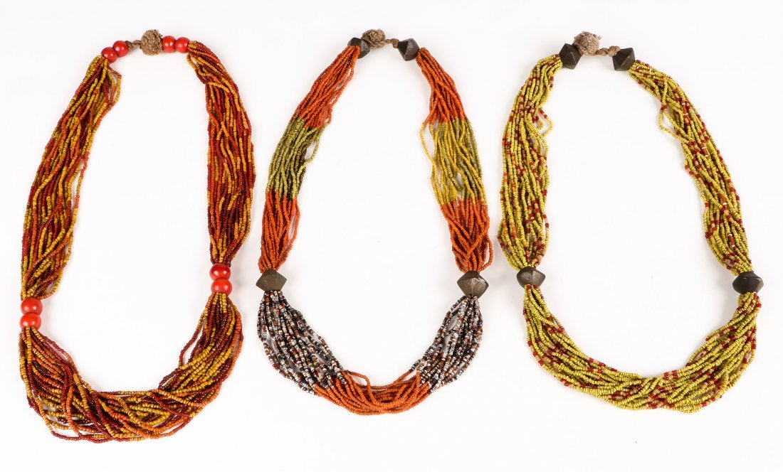 3 Old Naga Glass Beaded Necklaces