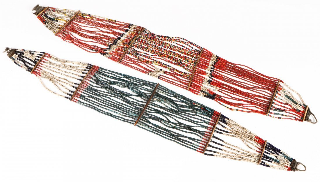 2 Old Konyak Naga Glass Bead Belts