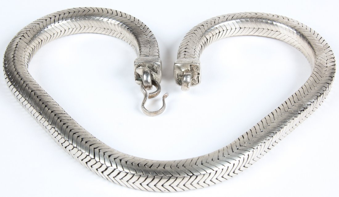Heavy Silver Snake Chain Necklace - 3