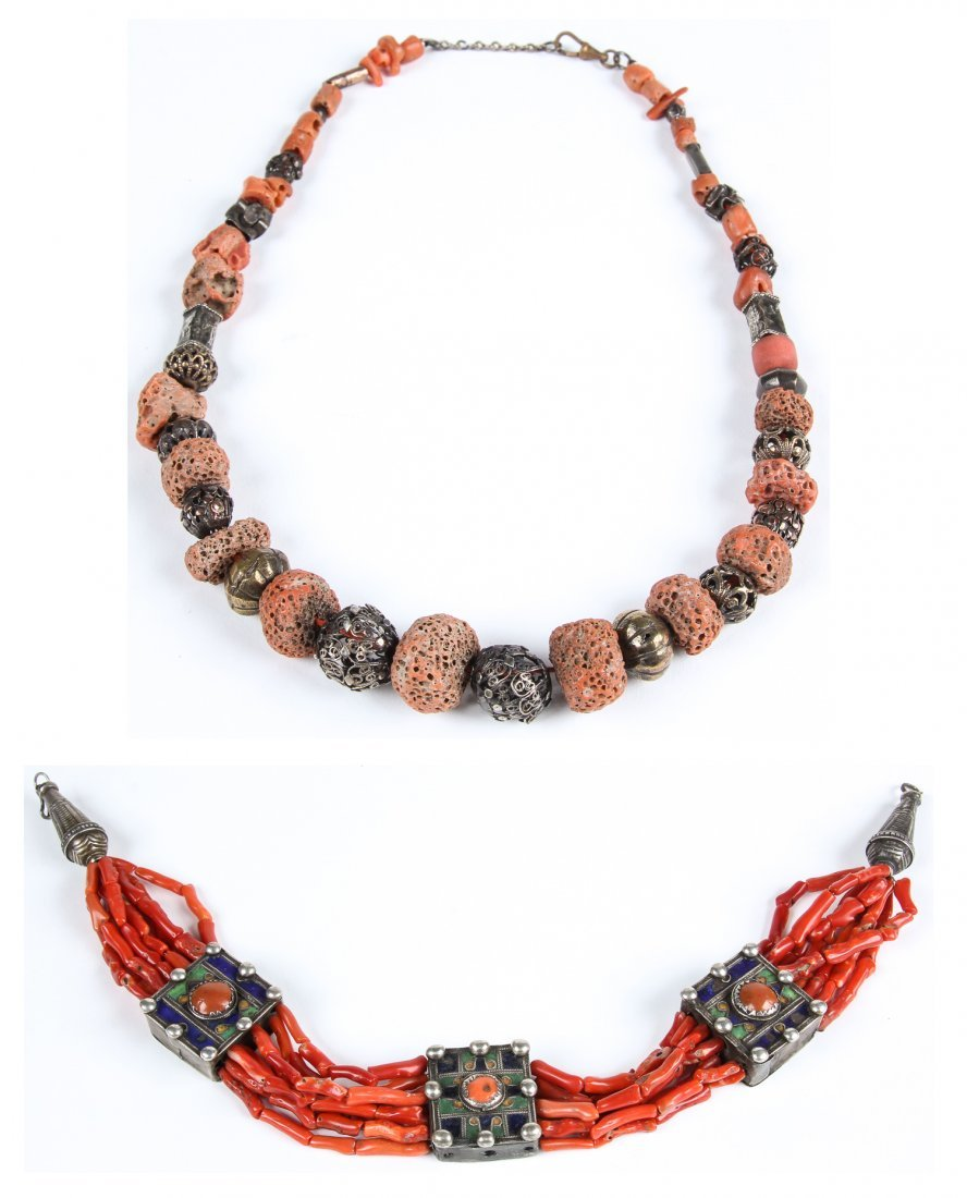 2 Strands of Coral Bead Necklaces