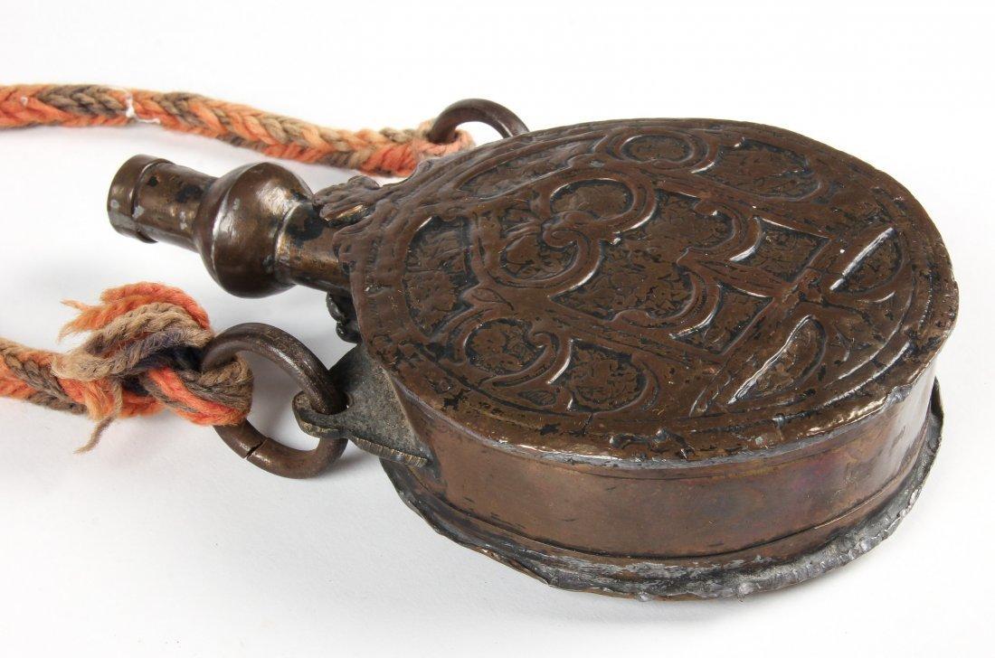 Antique Asian Repousse Powder Horn - 3