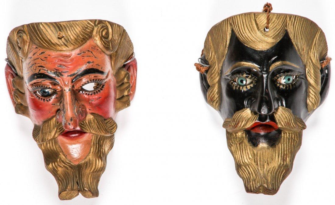 2 Vintage Mexican Festival Masks