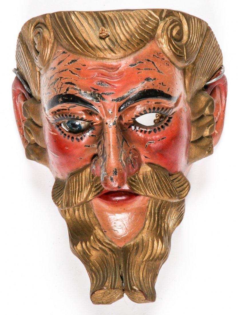 2 Vintage Mexican Festival Masks - 2