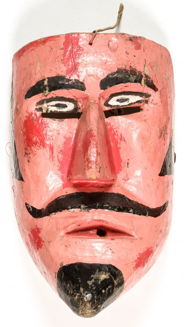 3 Vintage Mexican Male Character Dance Masks - 3