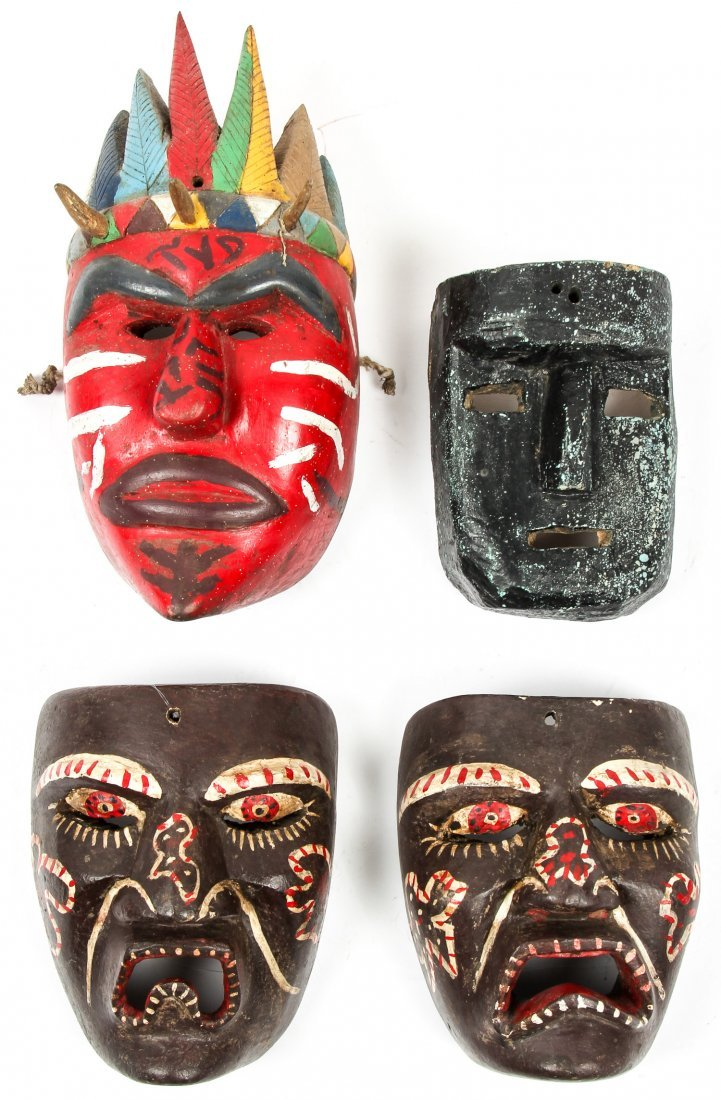 4 Vintage Mexican Dance Masks