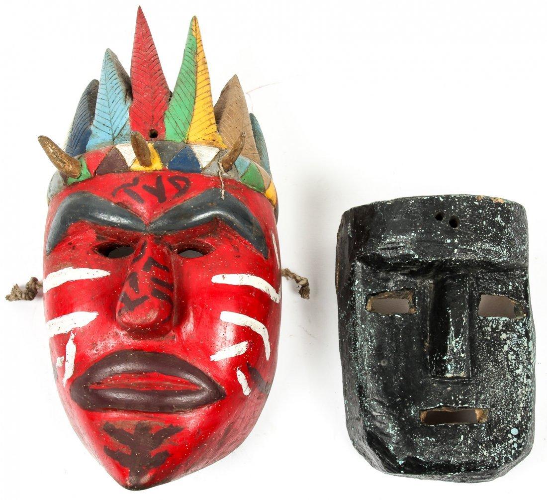 4 Vintage Mexican Dance Masks - 3