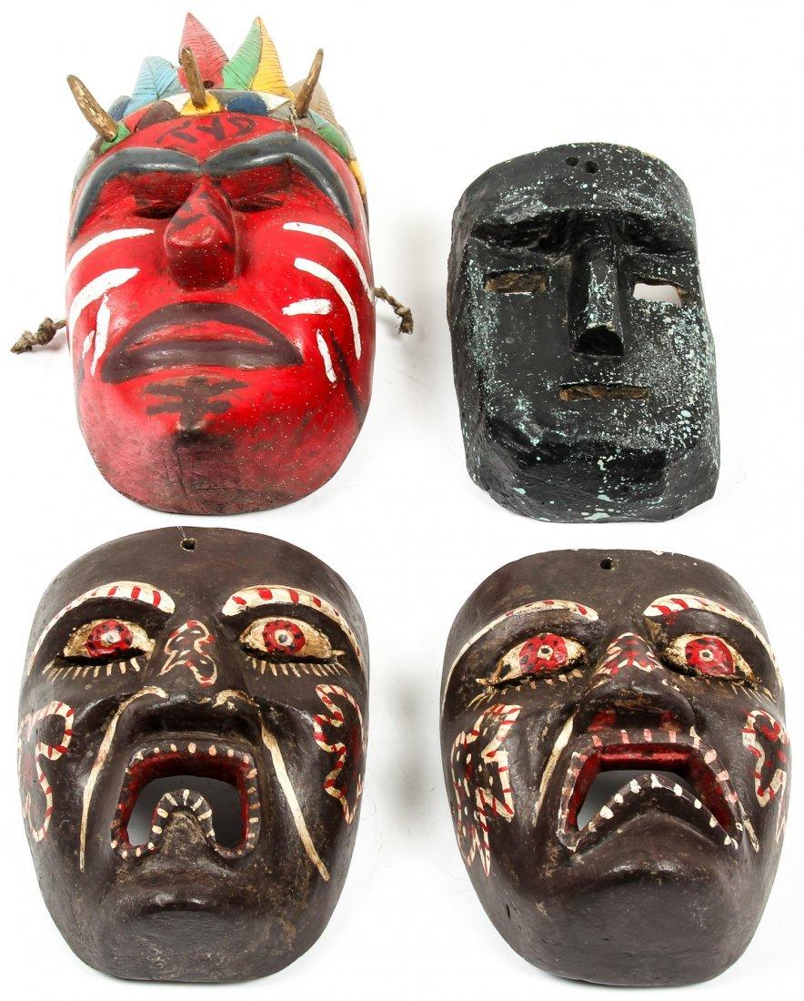 4 Vintage Mexican Dance Masks - 4