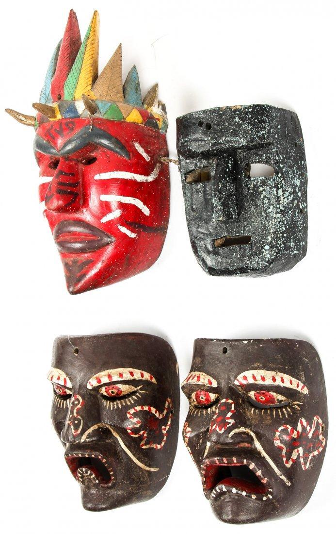 4 Vintage Mexican Dance Masks - 5