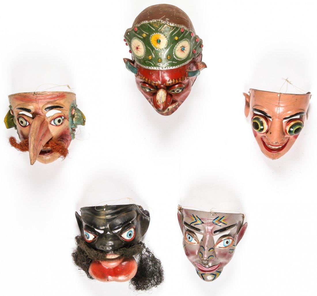 5 Vintage Bolivian Carnival/Dance Masks (1978)