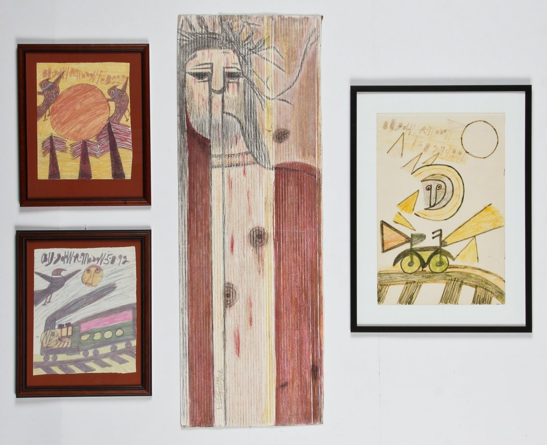4 Works by Various Outsider Self-Taught Artists