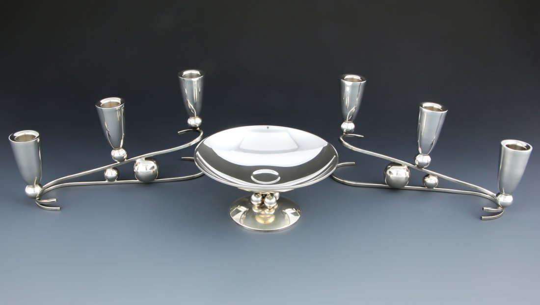 Modern 3 Pc Sterling Table Accessories Suite