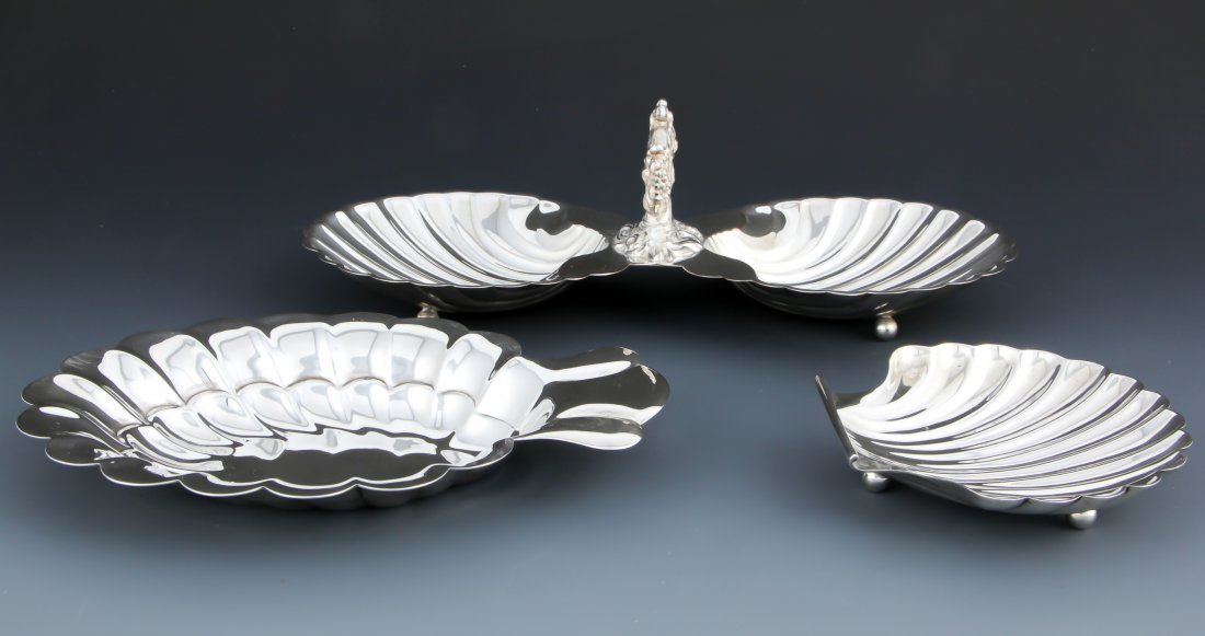 3 Shell Form Silver Table Wares - 2