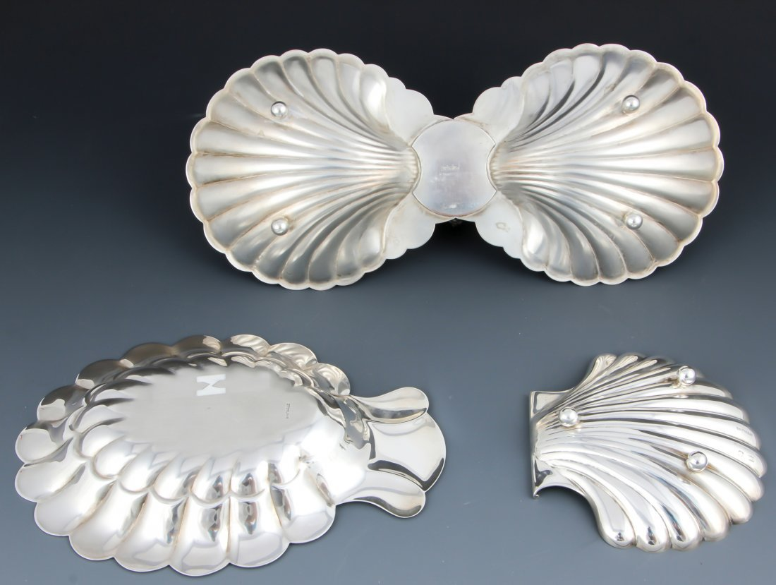 3 Shell Form Silver Table Wares - 3