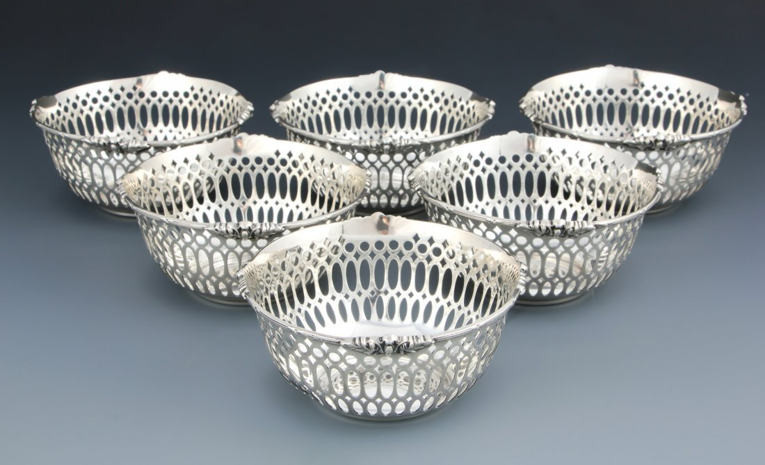 Set of 6 Wright Kay & Co.Reticulated Basket Bowls