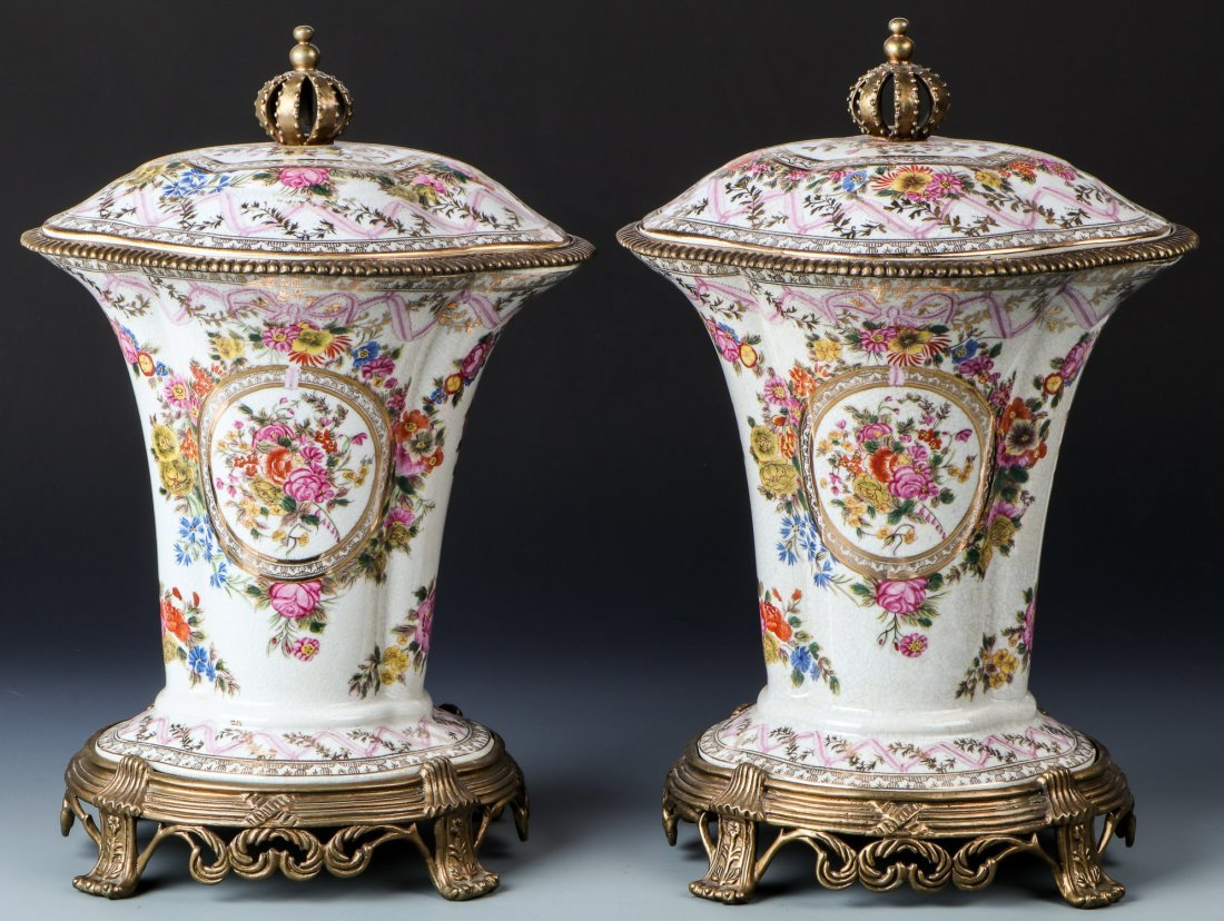 Pair Ormolu Mounted United Wilson Lidded Urns