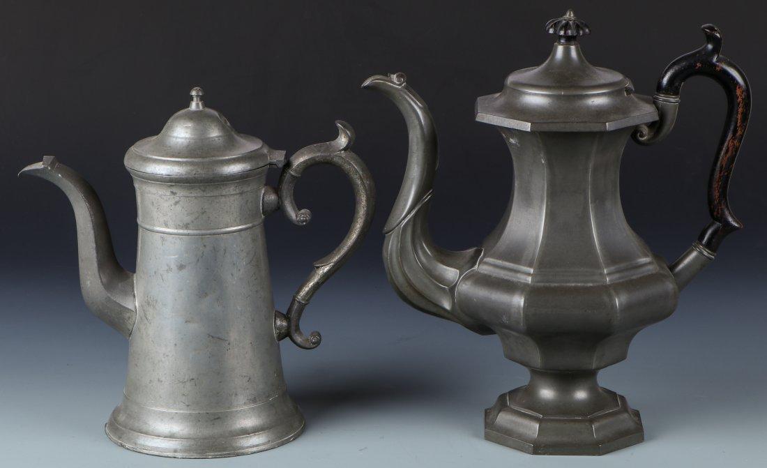 2 Antique Pewter Pots