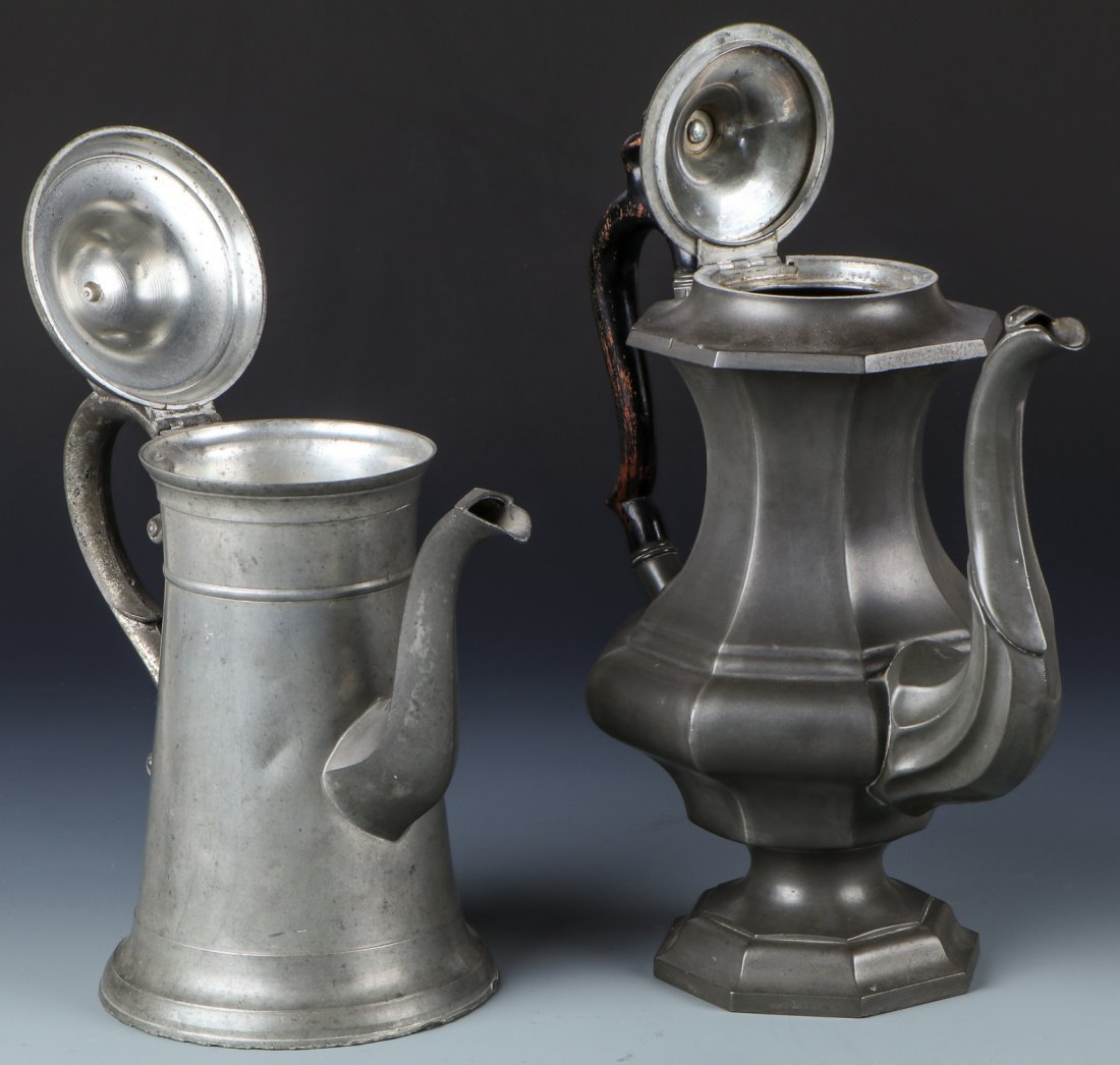2 Antique Pewter Pots - 2