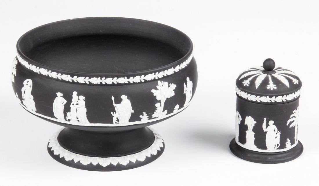 2 Wedgewood Black Cameo Vessels
