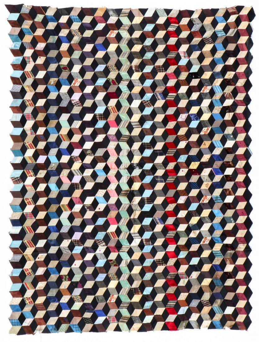 Dazzling 1930's Tumbling Blocks Quilt Top Textile