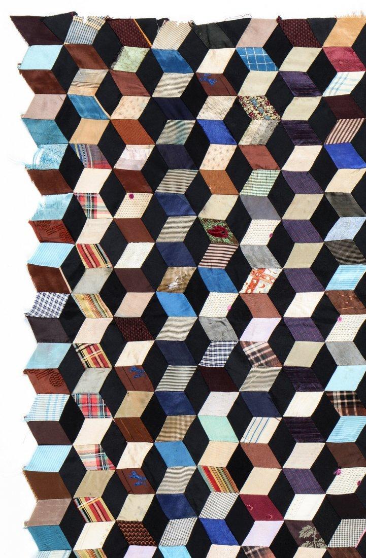 Dazzling 1930's Tumbling Blocks Quilt Top Textile - 2