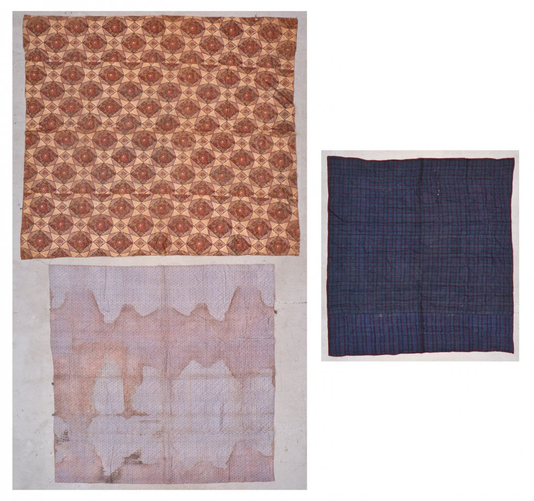 3 Early American Antique Pieced Quilts - 10