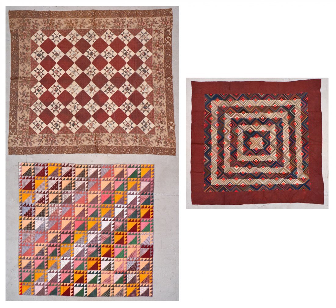 3 Early American Antique Pieced Quilts