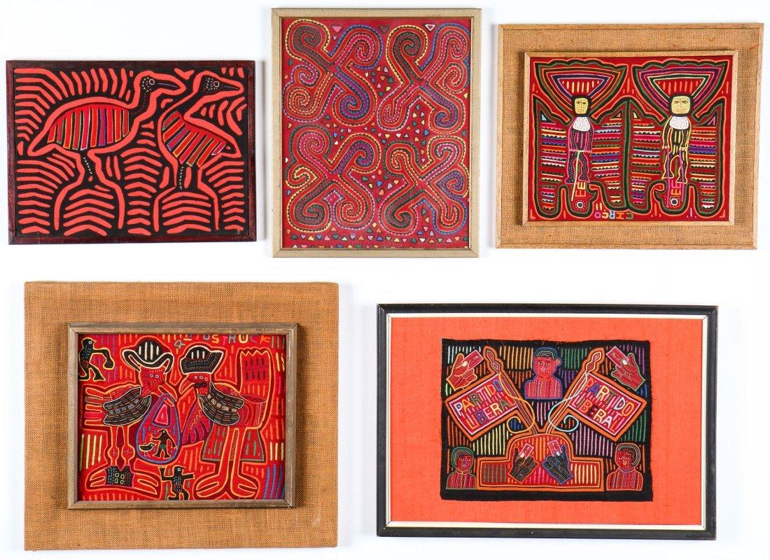 5 Framed Vintage Kuna Molas