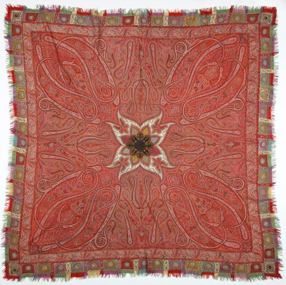 "Fine 19th c. Kashmir Shawl, India: 78"" x 80"" (198 x 203"