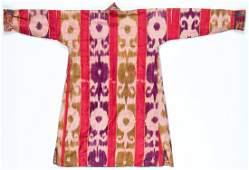 Antique Central Asian Silk Ikat Kaftan