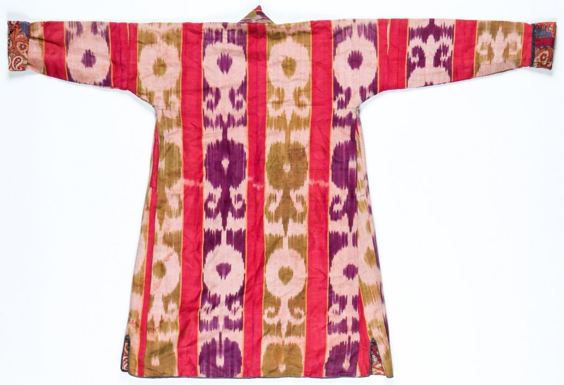 Antique Central Asian Silk Ikat Kaftan