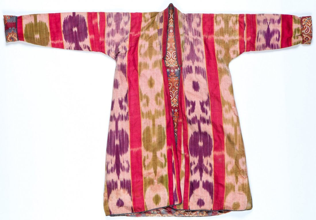 Antique Central Asian Silk Ikat Kaftan - 2