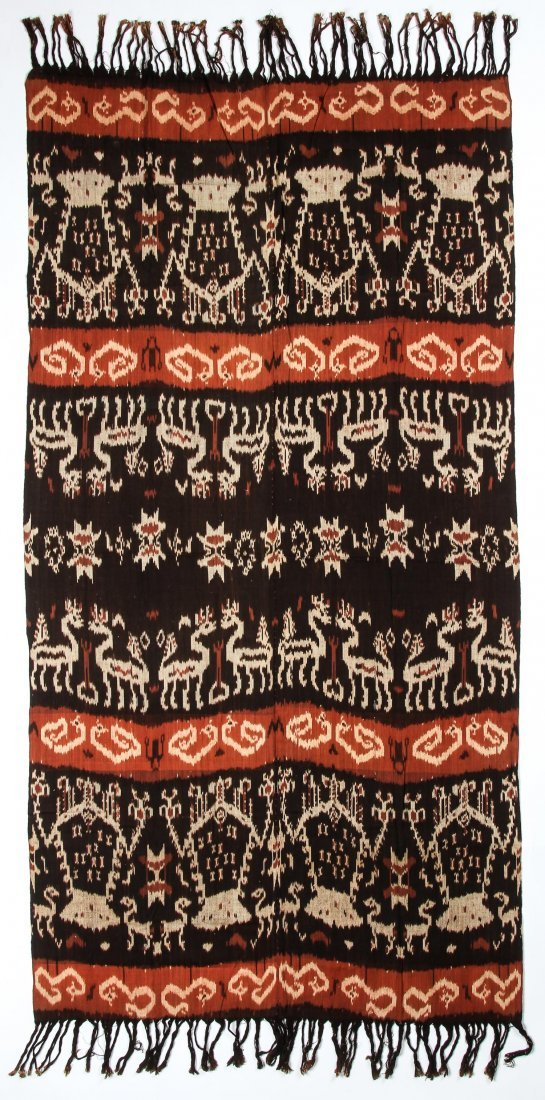 """Old Sumba ikat Hinggi Textile: 48"""" x 92"""""""