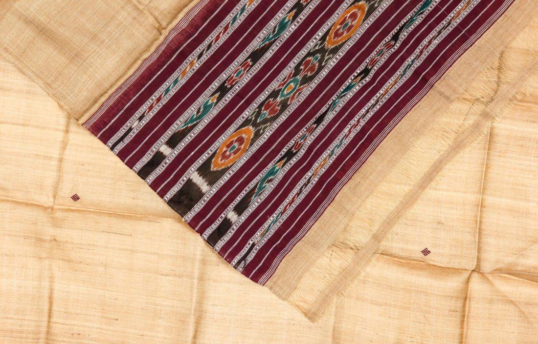 """Orissan Raw Silk Indian Sari: 36"""" x 75"""" - 3"""