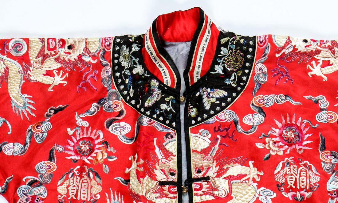Antique Chinese Silk Embroidered Dragon Robe - 2