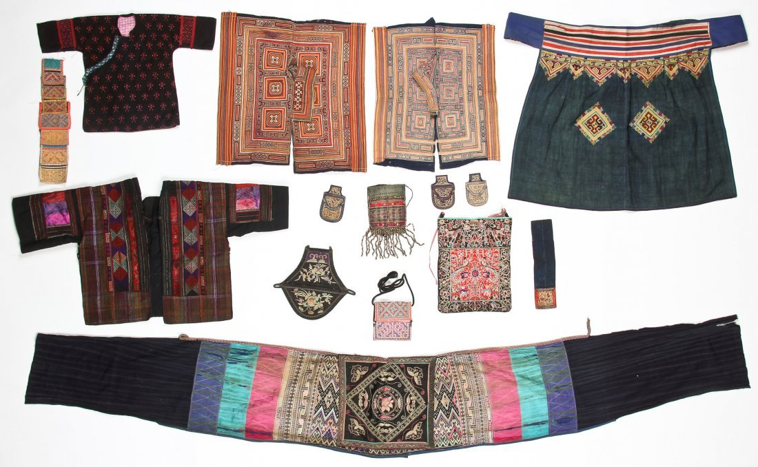 Group of 15 Chinese Minority Textiles