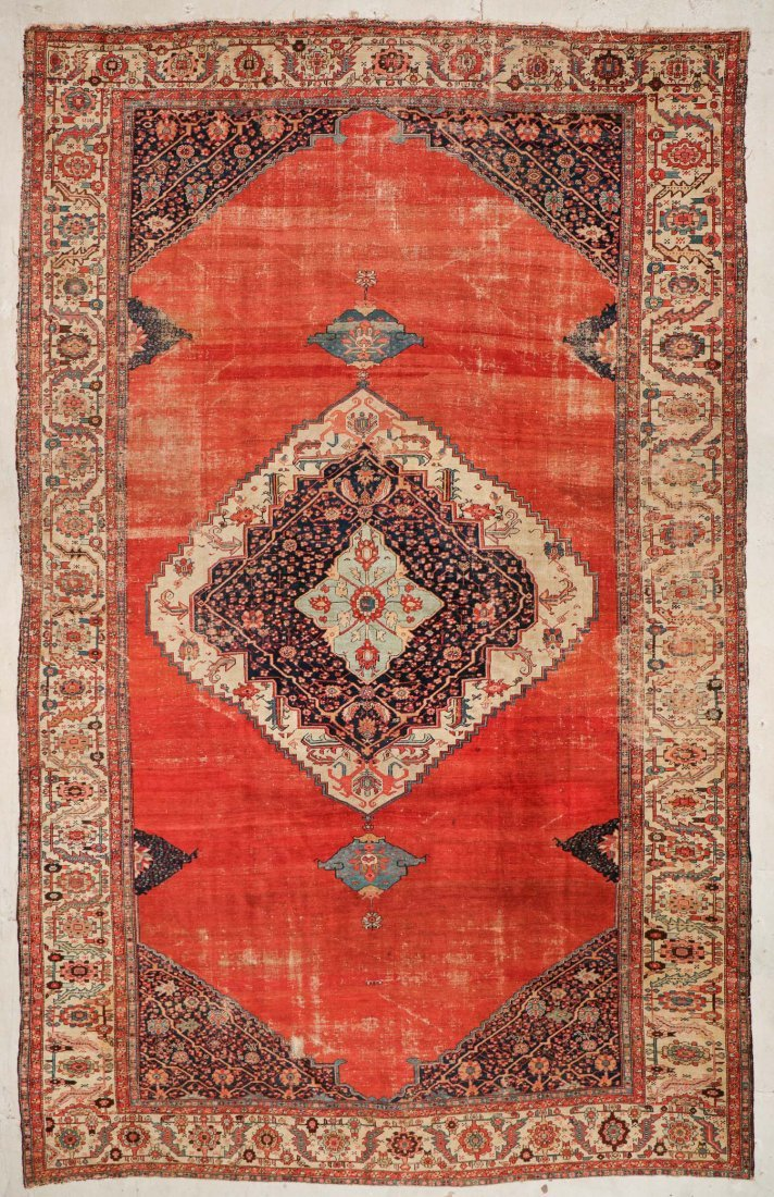Antique Bakshaish Rug: 11'5'' x 17'10'' (348 x 544 cm)