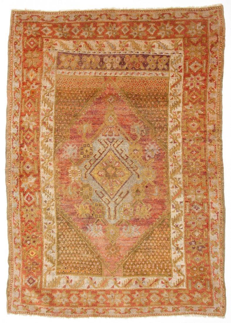 """Antique Oushak Village Rug: 3'3"""" x 4'6"""" (99 x 137 cm)"""